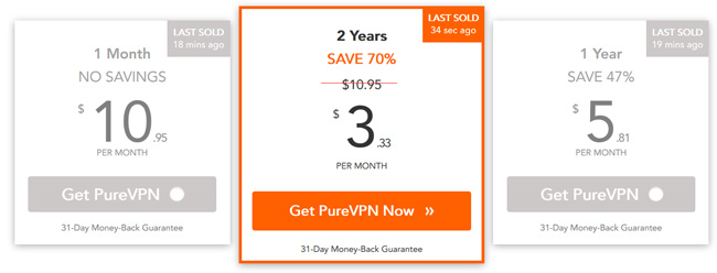 PureVPN Plans Pricing