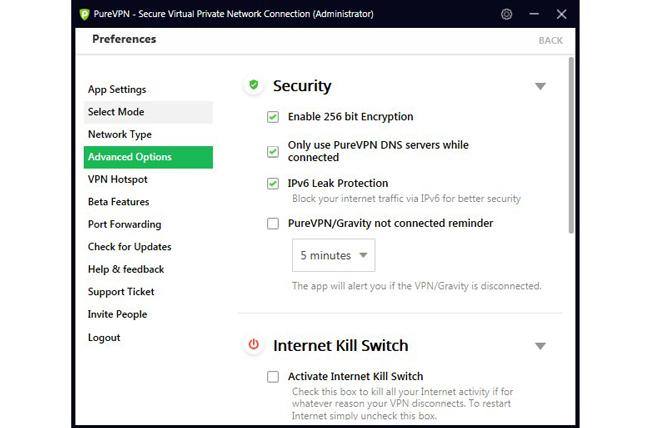 PureVPN secure printscreen