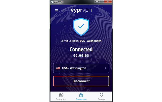 VyprVPN connected screen