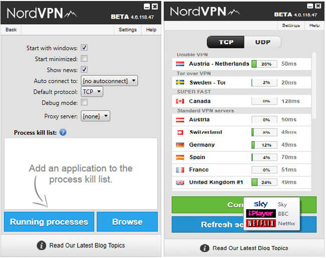 nord vpn interface
