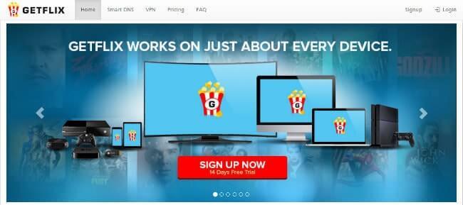 Getflix homepage