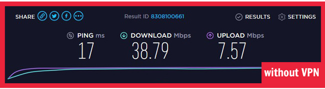 nordvpn speed test without vpn servers