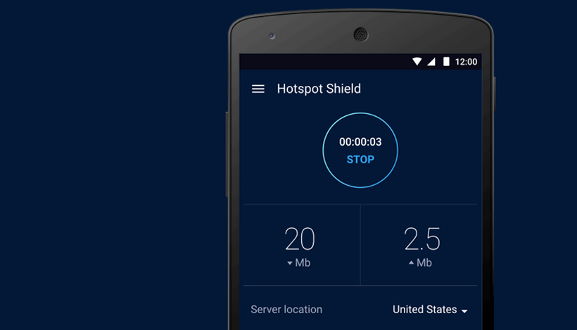 Hotspot Shield Android App interface