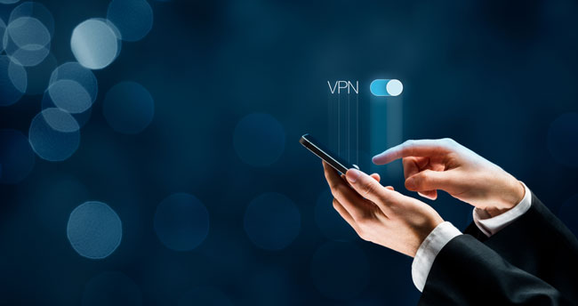 Smart mobile phone user witch on VPN