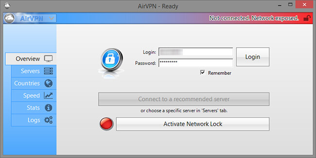 airvpn Interface
