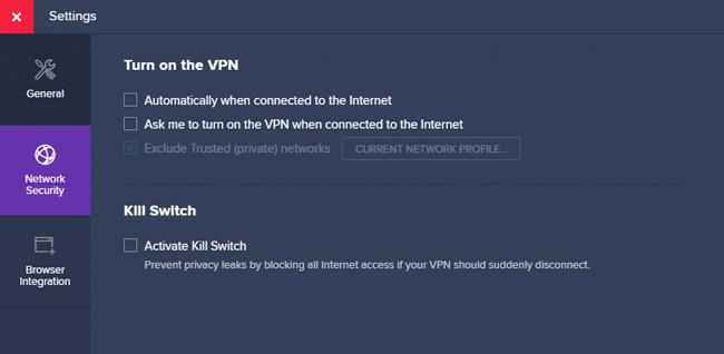 Avast SecureLine Security Settings