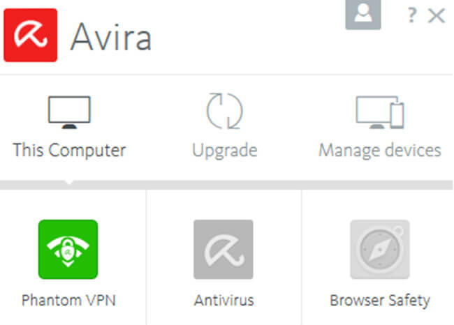 Avira Phantom VPN interface