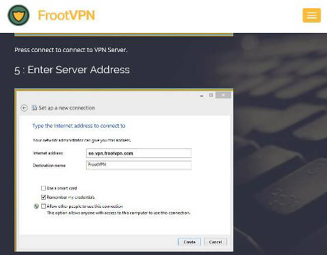 FrootVPN Interface