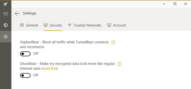 TunnelBear Security Settings