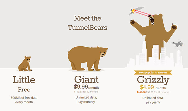 Tunnelbear Plans Prices