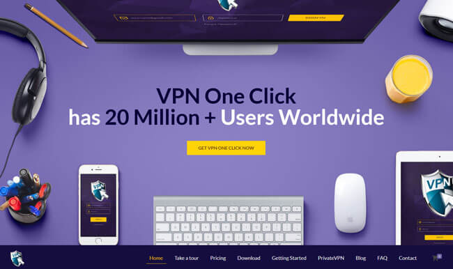 VPN One Click homepage