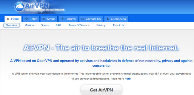 Airvpn Homepage