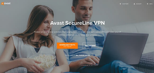 homepage Avast Secureline VPN