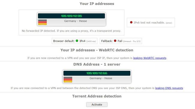 Windscribe Ipleak.net Test