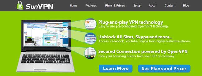 SunVPN homepage