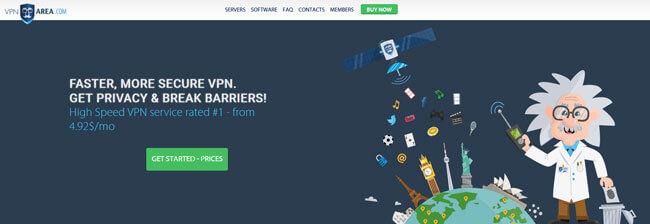 VPNArea homepage