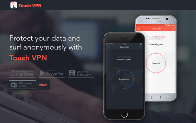 TouchVPN homepage