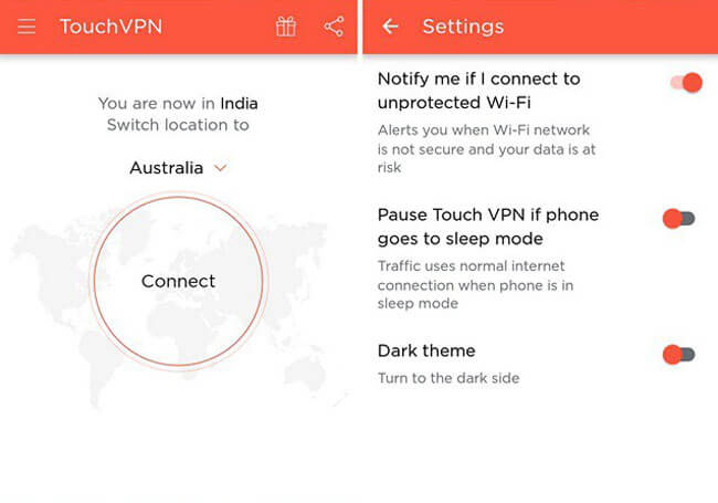 TouchVPN interface