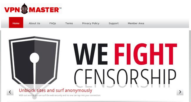 VPNMaster homepage