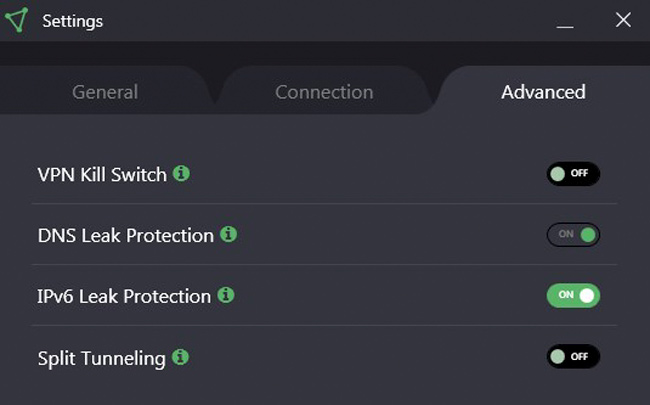 ProtonVPN Advanced Security Settings screen