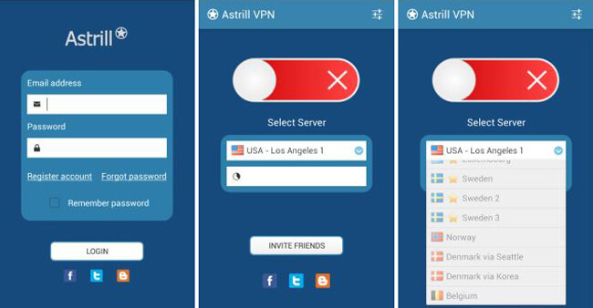 astrill vpn Interface