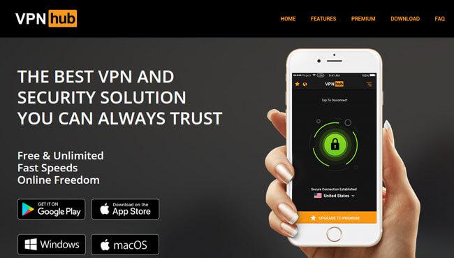 VPNhub homepage