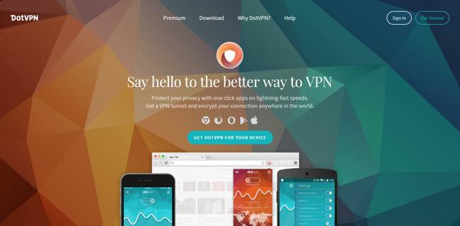 DotVPN homepage