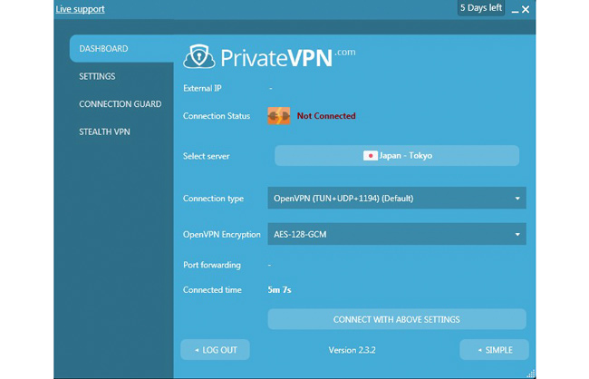 PrivateVPN Connection & Security Settings