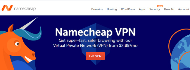 Namecheap VPN homepage
