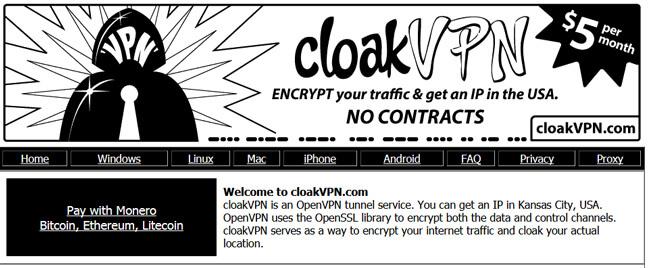 CloakVPN homepage