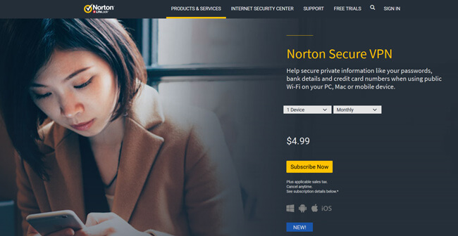 Norton Secure VPN printscreen homepage