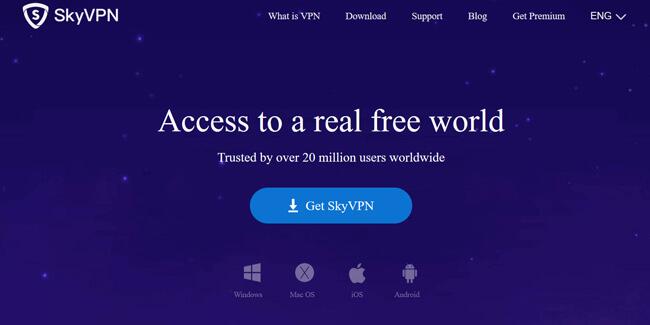 SkyVPN printscreen homepage