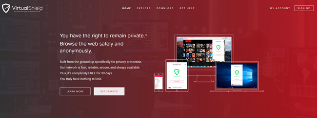VirtualShield VPN printscreen homepage