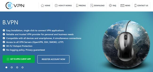 b-VPN printscreen homepage