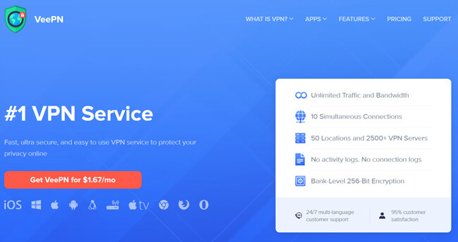 veepn printscreen homepage