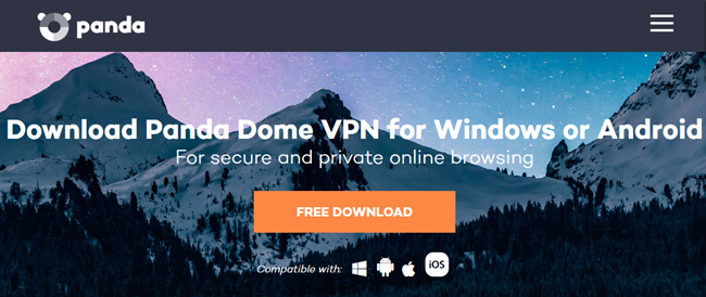 Panda VPN printscreen homepage