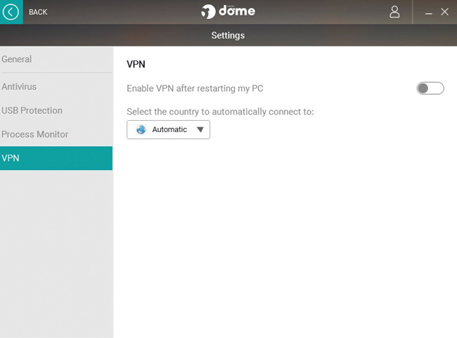 Panda VPN settings screen