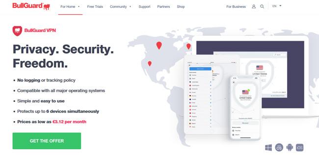 BullGuard VPN printscreen homepage