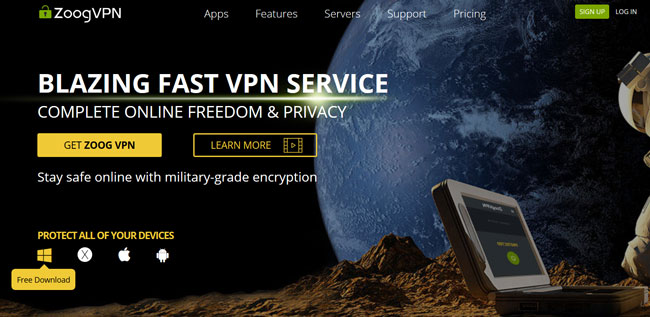 zoog vpn printscreen homepage